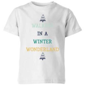 Walking In A Winter Wonderland Kids' Christmas T-Shirt - White