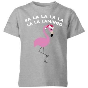 Fa La La La La La La Lamingo Kids' Christmas T-Shirt - Grey