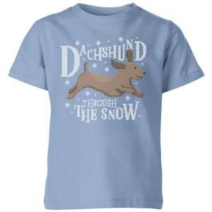 Dachshund Through The Snow Kids' Christmas T-Shirt - Sky Blue