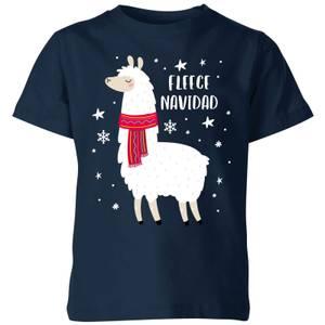 Fleece Navidad Kids' Christmas T-Shirt - Navy