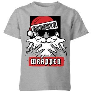 Gangsta Wrapper Kids' Christmas T-Shirt - Grey