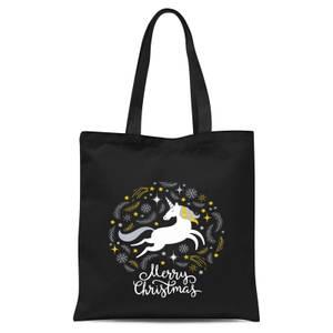 Unicorn Christmas Body Tote Bag - Black