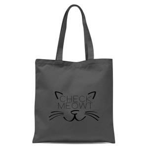 Check Meowt Tote Bag - Grey