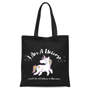 I Am A Unicorn Tote Bag - Black