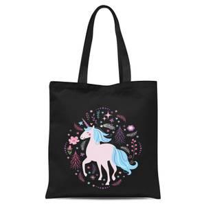 Pink Unicorn Tote Bag - Black