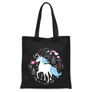 Blue Unicorn Tote Bag - Black
