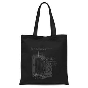 Photography Vintage Scribble Tote Bag - Black