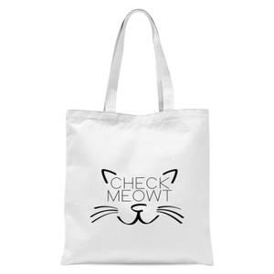 Check Meowt Tote Bag - White