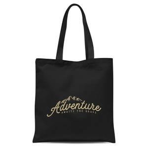 Adventure Awaits The Brave Tote Bag - Black