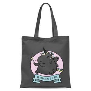 Bad Language Unicorn Be Magical & Shit Tote Bag - Grey