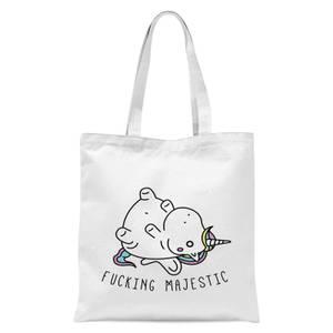 Bad Language Unicorn Fucking Majestic Tote Bag - White