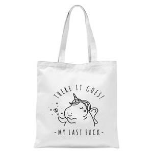 Bad Language Unicorn There It Goes, My Last Fuck Tote Bag - White