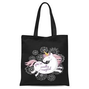 You Are Pretty Magical Unicorn Tote Bag - Black