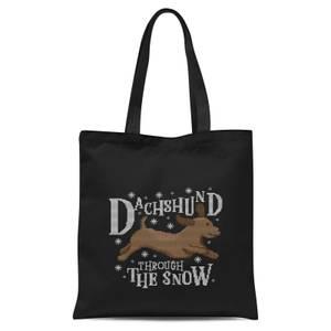 Dachshund Through The Snow Tote Bag - Black