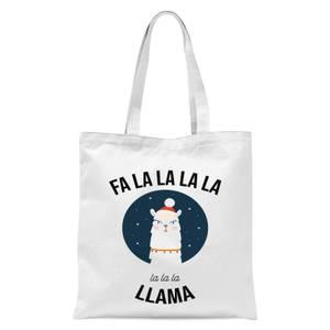 Fa La La La Llama Tote Bag - White
