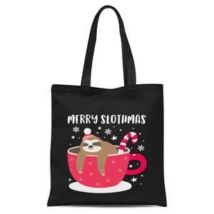 Merry Slothmas Tote Bag - Black