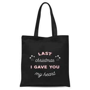 Last Christmas I Gave You My Heart Tote Bag - Black