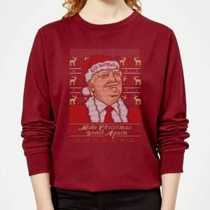 Make Christmas Great Again Women's Christmas Sweatshirt - Burgundy