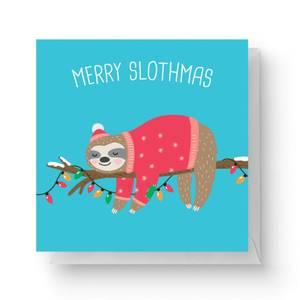Merry Slothmas Square Greetings Card (14.8cm x 14.8cm)