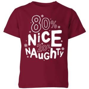 80% Nice 20% Naughty Kids' T-Shirt - Burgundy
