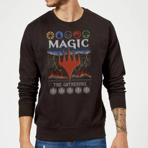 Magic The Gathering Colours Of Magic Knit Christmas Sweatshirt - Black
