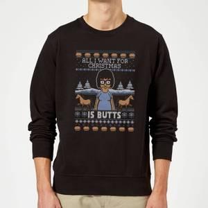 Bobs Burgers Tina Butts Christmas Sweatshirt - Black