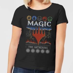 Magic The Gathering Colours Of Magic Knit Women's Christmas T-Shirt - Black