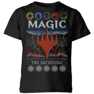 Magic The Gathering Colours Of Magic Knit Kids' Christmas T-Shirt - Black