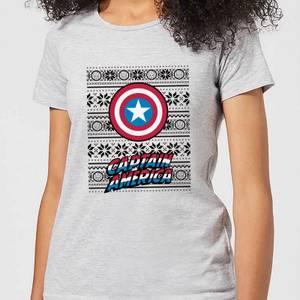 Marvel Captain America Women's Christmas T-Shirt - Grey