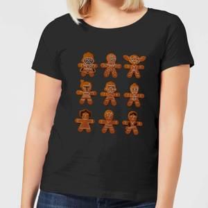 Star Wars Gingerbread Characters Women's Christmas T-Shirt - Black