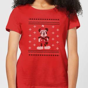 Disney Mickey Scarf Women's Christmas T-Shirt - Red