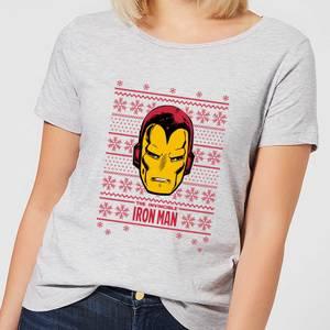 Marvel Iron Man Face Women's Christmas T-Shirt - Grey