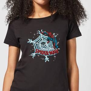 Marvel The Amazing Spider-Man Snowflake Web Women's Christmas T-Shirt - Black