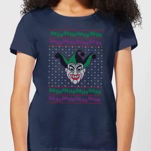 DC Joker Knit Women's Christmas T-Shirt - Navy