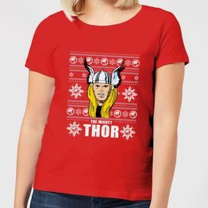 Marvel Thor Face Women's Christmas T-Shirt - Red