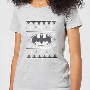 DC Comics Batman Knit Women's Christmas T-Shirt in Grey