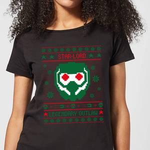 Guardians Of The Galaxy Star-Lord Pattern Women's Christmas T-Shirt - Black