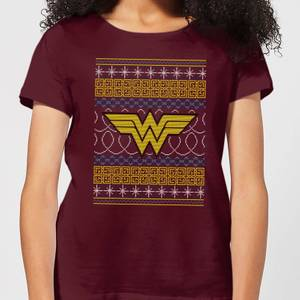 DC Wonder Woman Knit Women's Christmas T-Shirt - Burgundy