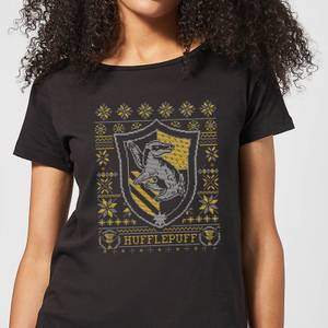 Harry Potter Hufflepuff Crest Women's Christmas T-Shirt - Black