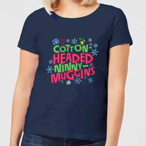 Elf Cotton-Headed Ninny-Muggins Women's Christmas T-Shirt - Navy