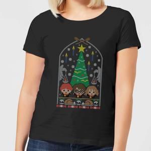 Harry Potter Hogwarts Tree Damen Christmas T-Shirt - Schwarz