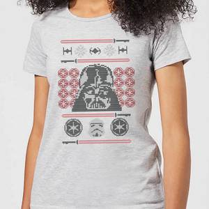 Star Wars Darth Vader Face Knit Women's Christmas T-Shirt - Grey