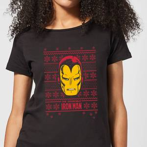 Marvel Iron Man Face Women's Christmas T-Shirt - Black