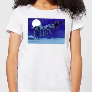 Star Wars AT-AT Darth Vader Sleigh Women's Christmas T-Shirt - White