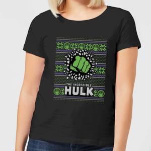Marvel Hulk Punch Women's Christmas T-Shirt - Black