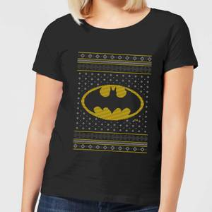 DC Batman Knit Damen Christmas T-Shirt - Schwarz