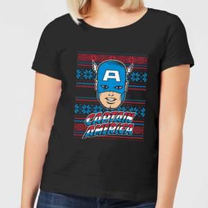 Marvel Captain America Face Women's Christmas T-Shirt - Black
