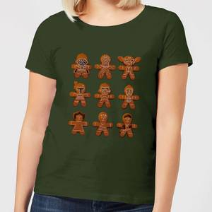 Star Wars Gingerbread Characters Women's Christmas T-Shirt - Forest Green