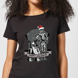 Star Wars Happy Holidays Droids Women's Christmas T-Shirt - Black