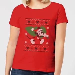 Disney Tree Mickey Women's Christmas T-Shirt - Red